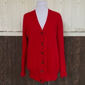 J. Crew red button down cardigan cashmere blend S